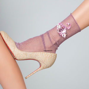 Swan Song Sheer Slouch Socks Plum